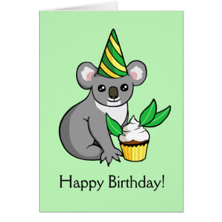 Cute Koala with Cake Drawing Happy Birthday Card