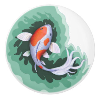 Cute Koi Fish Art Ceramic Knob