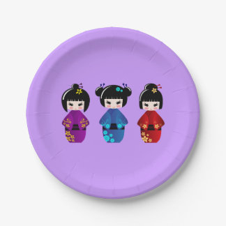 Cute kokeshi dolls cartoon girls paper plate