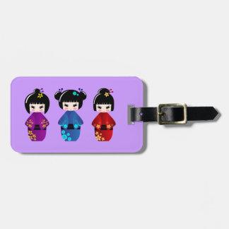 Cute kokeshi dolls cartoon luggage tag