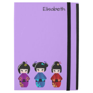 "Cute kokeshi dolls cartoon name iPad pro 12.9"" case"
