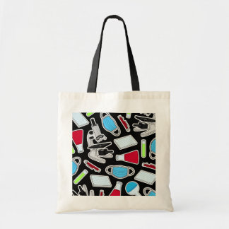 Cute Lab Pattern Black Background Tote Bag