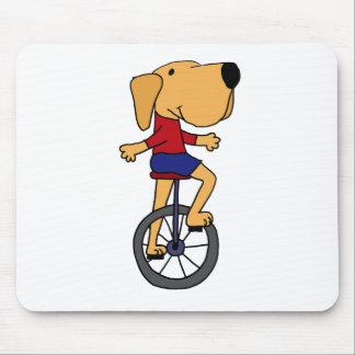 Cute Labrador Dog Riding Unicycle Cartoon Mouse Pad