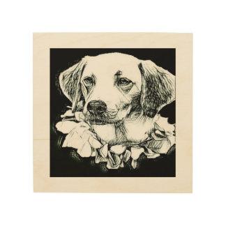 Cute labrador pencil sketch wood print