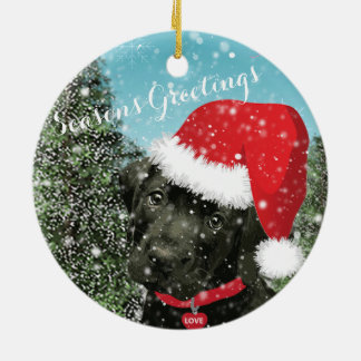 Cute Labrador Puppy Santa Hat Season's Greetings Ceramic Ornament