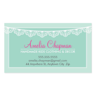 CUTE LACE BUNTING stylish elegant soft mint green Pack Of Standard Business Cards
