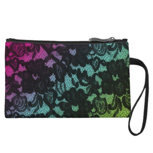 Cute Lace Makeup Purse Floral Rainbow Black Wristlet Clutches