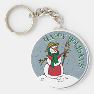 Cute Lady Snowman Round Design Basic Round Button Key Ring