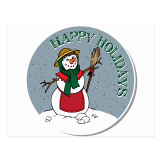 Cute Lady Snowman Round Design Postcard