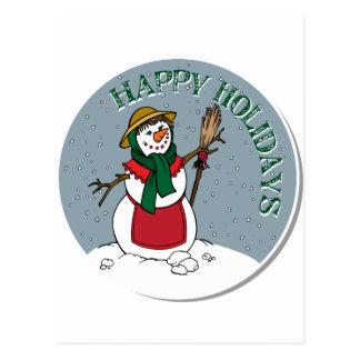 Cute Lady Snowman Round Design Postcard