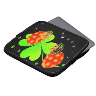 Cute Ladybird Shamrock Laptop Sleeve