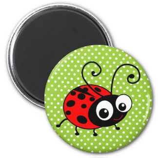 Cute Ladybug 6 Cm Round Magnet