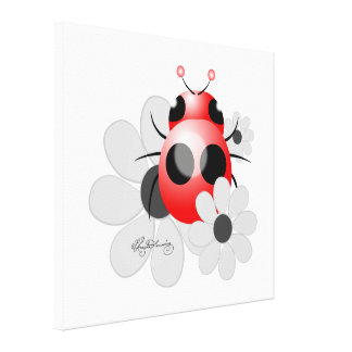 Cute ladybug and black and white Daisies Gallery Wrapped Canvas