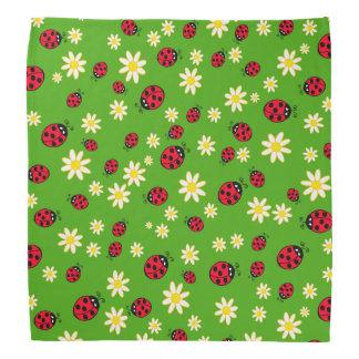 cute ladybug and daisy flower pattern green bandana