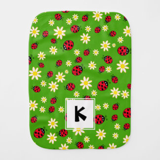 cute ladybug and daisy flower pattern green burp cloth