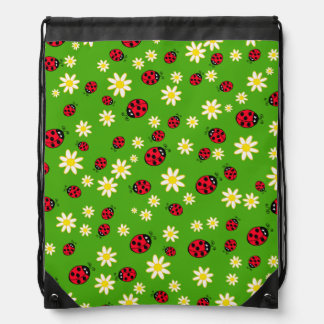 cute ladybug and daisy flower pattern green drawstring bag