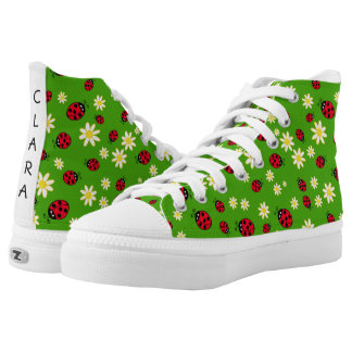 cute ladybug and daisy flower pattern green high tops