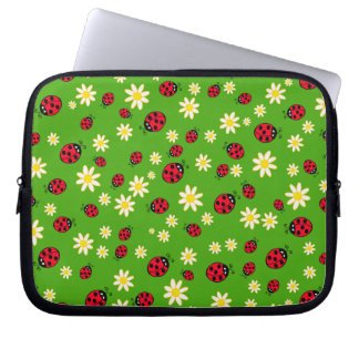 cute ladybug and daisy flower pattern green laptop sleeve