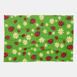 cute ladybug and daisy flower pattern green tea towel