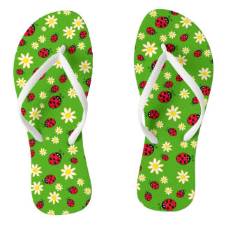 cute ladybug and daisy flower pattern green thongs