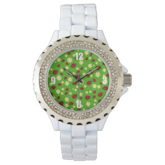 cute ladybug and daisy flower pattern green watch