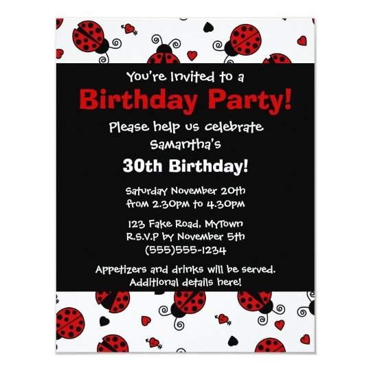 Cute Ladybug and Hearts Red Print Party Invitation