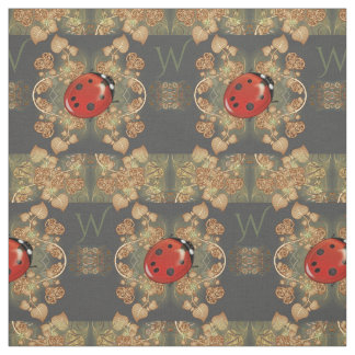 Cute Ladybug And Vines With Monogram Fabric
