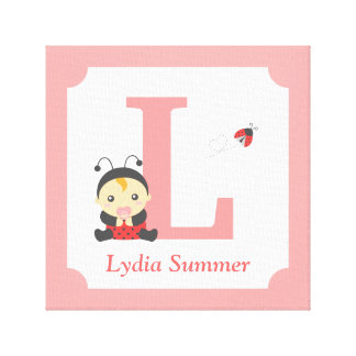 Cute Ladybug Baby Girl Nursery Letter Name Print