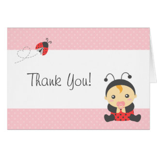 Cute Ladybug Baby Girl, Thank You Greeting Card