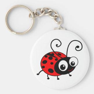 Cute Ladybug Basic Round Button Key Ring