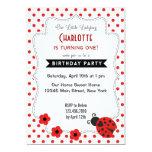 Cute Ladybug Birthday Invitation Red Polkadot