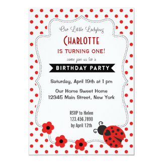 Cute Ladybug Birthday Invitation Red Polkadot