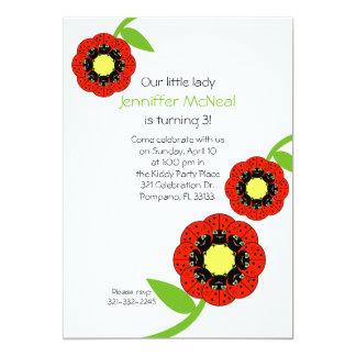 "cute ladybug BIRTHDAY PARTY invitation 5"" X 7"" Invitation Card"