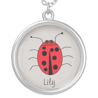 Cute Ladybug Design Personalized Silver Plated Necklace