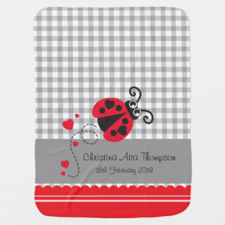 Cute ladybug grey red custom name date blanket
