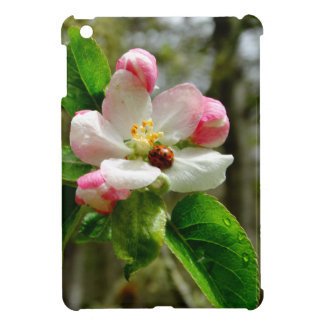 Cute Ladybug on white Apple blossom flowers Case For The iPad Mini
