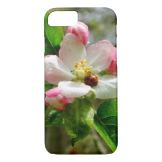 cute Ladybug on white Apple blossom flowers iPhone 8/7 Case