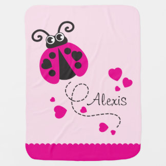 Cute ladybug pink hearts scallop edge name blanket pramblankets