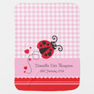 Cute ladybug pink red custom name date blanket pram blankets