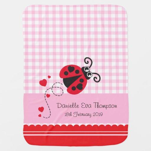 Cute ladybug pink red custom name date blanket stroller blankets