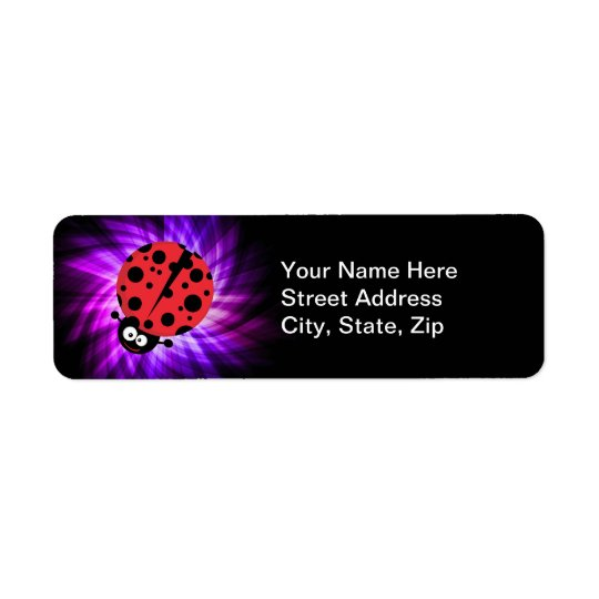 Cute Ladybug; Purple Return Address Label
