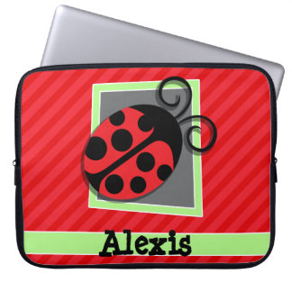 Cute Ladybug; Scarlet Red Stripes Laptop Sleeve