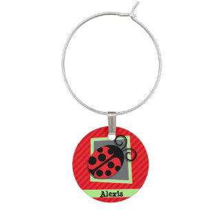 Cute Ladybug; Scarlet Red Stripes Wine Glass Charms