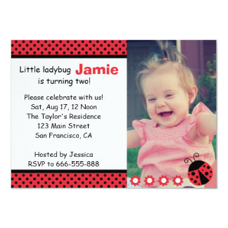 Cute Ladybug, Second Birthday Party, polka dots Card