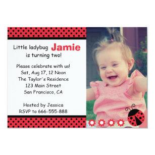Cute Ladybug Second Birthday Party Polka Dots Invitation