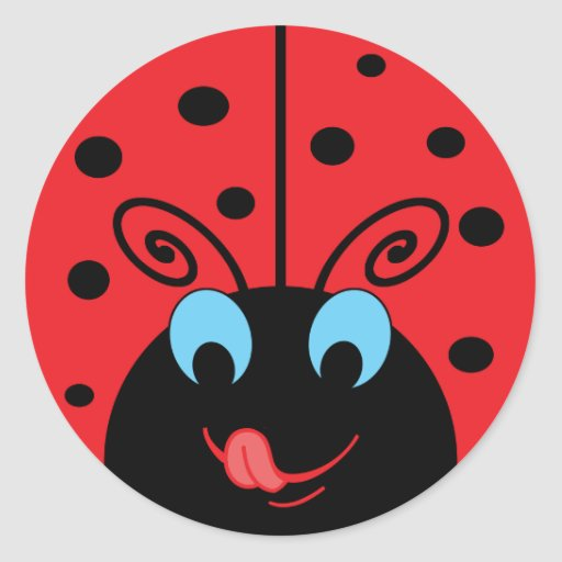 Cute Ladybug Round Stickers