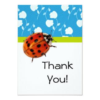 Cute Ladybug Thank You on Blue Floral 13 Cm X 18 Cm Invitation Card