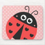 Cute ladybug with black hearts and pink polka dots mousepad