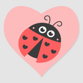 Cute ladybug with black hearts heart sticker