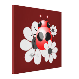 Cute ladybug with  Daisies Canvas Prints